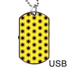 Yellow Fractal In Kaleidoscope Dog Tag Usb Flash (two Sides)