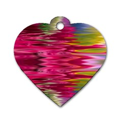 Abstract Pink Colorful Water Background Dog Tag Heart (two Sides) by Jojostore