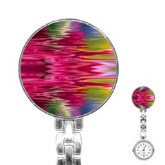 Abstract Pink Colorful Water Background Stainless Steel Nurses Watch by Jojostore