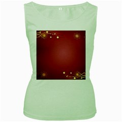 Red Background With A Pattern Women s Green Tank Top