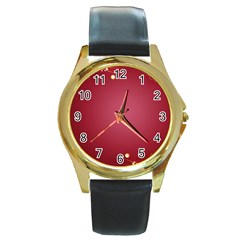 Red Background With A Pattern Round Gold Metal Watch by Jojostore