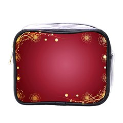 Red Background With A Pattern Mini Toiletries Bag (one Side)