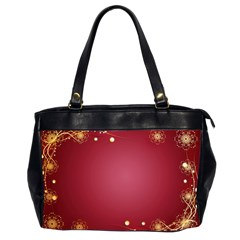 Red Background With A Pattern Oversize Office Handbag (2 Sides) by Jojostore