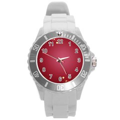 Red Background With A Pattern Round Plastic Sport Watch (l)