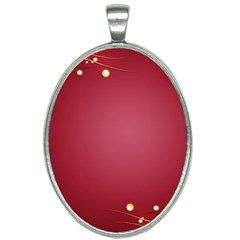 Red Background With A Pattern Oval Necklace