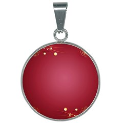 Red Background With A Pattern 25mm Round Necklace