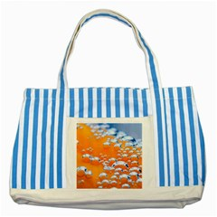 Bubbles Background Striped Blue Tote Bag by Jojostore