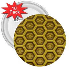 Golden 3d Hexagon Background 3  Buttons (10 Pack)  by Jojostore