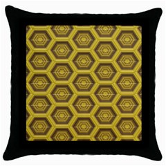 Golden 3d Hexagon Background Throw Pillow Case (black) by Jojostore