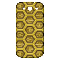 Golden 3d Hexagon Background Samsung Galaxy S3 S Iii Classic Hardshell Back Case