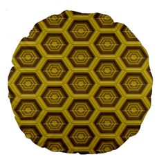 Golden 3d Hexagon Background Large 18  Premium Round Cushions by Jojostore