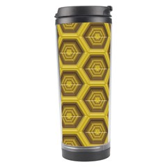 Golden 3d Hexagon Background Travel Tumbler by Jojostore