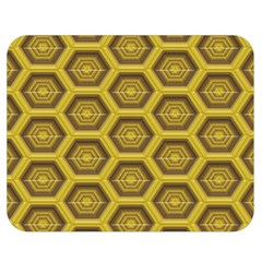 Golden 3d Hexagon Background Double Sided Flano Blanket (medium)