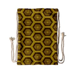 Golden 3d Hexagon Background Drawstring Bag (small) by Jojostore