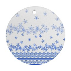 Blue And White Floral Background Ornament (round)