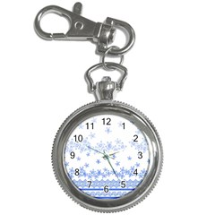 Blue And White Floral Background Key Chain Watches by Jojostore