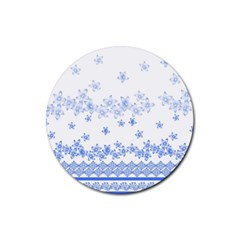 Blue And White Floral Background Rubber Coaster (round)