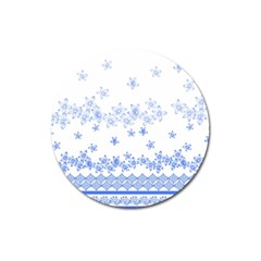 Blue And White Floral Background Magnet 3  (round)