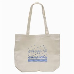 Blue And White Floral Background Tote Bag (cream) by Jojostore