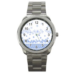 Blue And White Floral Background Sport Metal Watch by Jojostore
