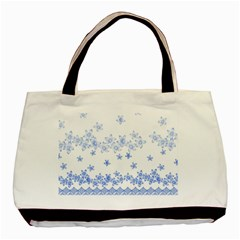Blue And White Floral Background Basic Tote Bag (two Sides)