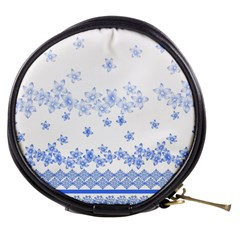 Blue And White Floral Background Mini Makeup Bag by Jojostore