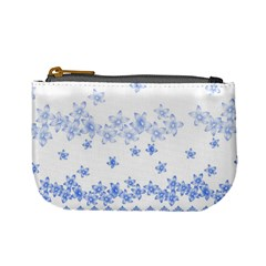 Blue And White Floral Background Mini Coin Purse by Jojostore