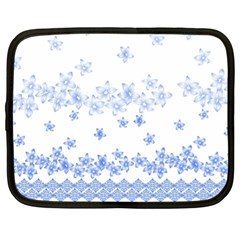 Blue And White Floral Background Netbook Case (xl) by Jojostore