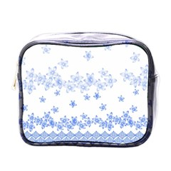Blue And White Floral Background Mini Toiletries Bag (one Side) by Jojostore