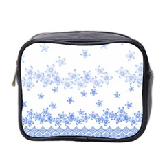 Blue And White Floral Background Mini Toiletries Bag (two Sides) by Jojostore