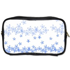 Blue And White Floral Background Toiletries Bag (two Sides) by Jojostore