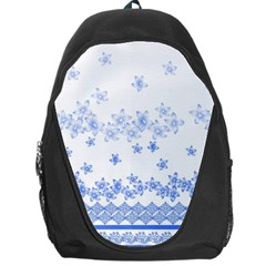 Blue And White Floral Background Backpack Bag by Jojostore
