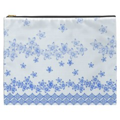 Blue And White Floral Background Cosmetic Bag (xxxl) by Jojostore
