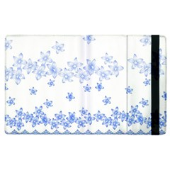 Blue And White Floral Background Apple Ipad 2 Flip Case