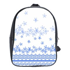 Blue And White Floral Background School Bag (xl) by Jojostore