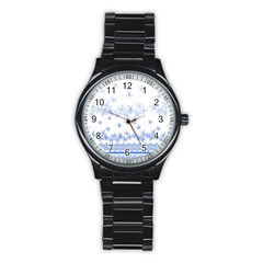 Blue And White Floral Background Stainless Steel Round Watch