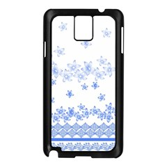 Blue And White Floral Background Samsung Galaxy Note 3 N9005 Case (black) by Jojostore