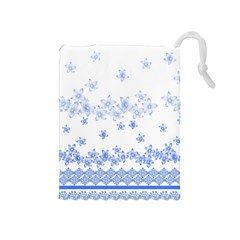 Blue And White Floral Background Drawstring Pouch (medium) by Jojostore