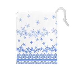 Blue And White Floral Background Drawstring Pouch (large) by Jojostore