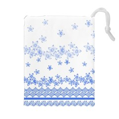 Blue And White Floral Background Drawstring Pouch (xl) by Jojostore