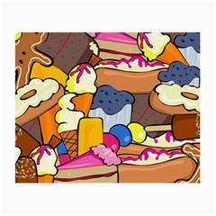 Sweet Stuff Digitally Created Sweet Food Wallpaper Small Glasses Cloth (2 Side) by Jojostore
