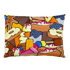 Sweet Stuff Digitally Created Sweet Food Wallpaper Pillow Case (two Sides)