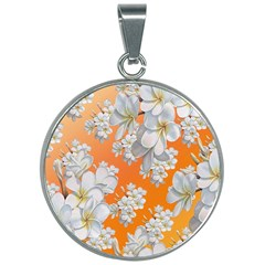 Flowers Background Backdrop Floral 30mm Round Necklace