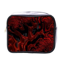 Fractal Red Black Glossy Pattern Decorative Mini Toiletries Bag (one Side)