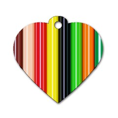 Colorful Striped Background Wallpaper Pattern Dog Tag Heart (two Sides)
