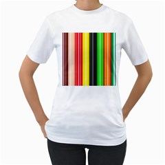 Colorful Striped Background Wallpaper Pattern Women s T Shirt (white)