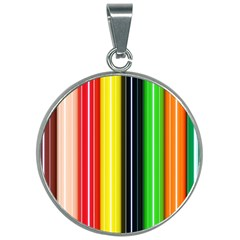 Colorful Striped Background Wallpaper Pattern 30mm Round Necklace by Jojostore