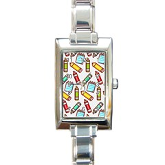 Seamless Pixel Art Pattern Rectangle Italian Charm Watch by Jojostore