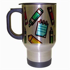 Seamless Pixel Art Pattern Travel Mug (silver Gray)