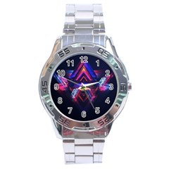 Abstract Desktop Backgrounds Stainless Steel Analogue Watch